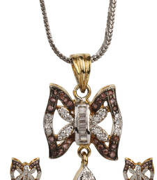 Buy LOVE Collection Tricolour Butterfly Shaped Locket Set For Women Pendant online