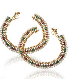 Buy Fine golden finish & charming kundan red green stone work in a pearl payal anklet sh56rg anklet online