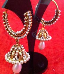 Buy White pearl diamentes bali jhumka with exquisite golden finish v339w jhumka online