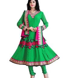 Buy Fabulous Green Semi-Stitched Georgette Embroidered Anarkali suit D.No ZO7504 dress-material online