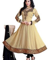 Buy Dazzling Cream Semi-Stitched Georgette Embroidered  Anarkali  Suit D.No ZO7505 dress-material online