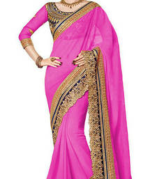 Buy Pink embroidered faux georgette saree With Blouse kriti-sanon-saree online