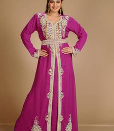 Buy Purple georgette embroidered abaya abaya online
