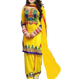 Buy Yellow cotton embroidered unstitched salwar with dupatta dress-material online