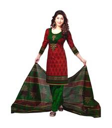Buy Red printed cotton unstitched salwar with dupatta dress-material online