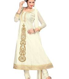 Buy Fabulous White Semi-Stitched Cotton Embroidered Anarkali Suit with Chiffon Dupatta D.No BA8604 dress-material online