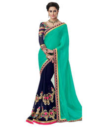 Buy Green & Blue  embroidered georgette saree With Blouse wedding-saree online