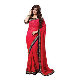 Buy Red embroidered georgette saree with blouse ayesha-takia-saree online