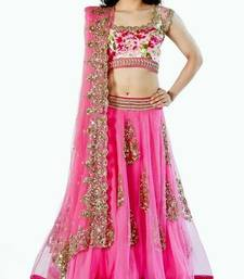 Buy Pink net embroidered  Semi-stitched lehenga choli lehenga-choli online