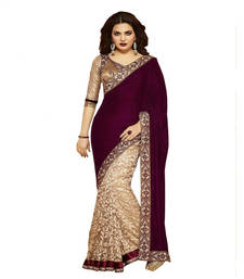 Buy Maroon printed Velvet saree With Blouse wedding-saree online