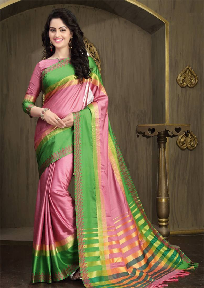 Buy Baby Pink And Green Printed Cotton Silk Saree With