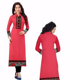 Buy Pink cotton plain kurti kurtas-and-kurti online