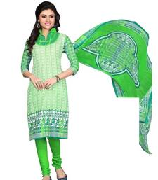 Buy Green printed cotton unstitched salwar with dupatta dress-material online