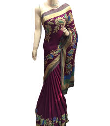 Buy Maroon printed jacquard saree with blouse jacquard-saree online