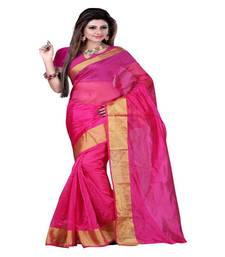 Buy Pink printed art silk saree With Blouse art-silk-saree online