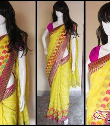 Buy Yellow Chanderi Benaras CottonSilk chanderi-saree online