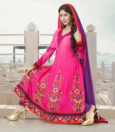 Buy Hypnotex Georgette Pink Dress material Around208 dress-material online