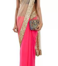 Buy beige embroidered net saree With Blouse designer-embroidered-saree online