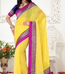 Buy Unique Look Yellow Color Faux Chiffon Designer Saree With Blouse chiffon-saree online