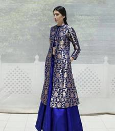 Buy Blue jacquard printed unstitched salwar with dupatta dress-material online