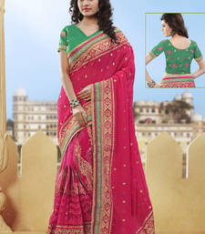 Buy hot pink hand woven net saree With Blouse heavy-work-saree online