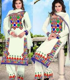 Buy White embroidered cotton semi stitched salwar with dupatta cotton-salwar-kameez online