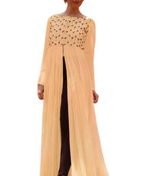 Buy Peach georgette embroidered kurti long-kurti online