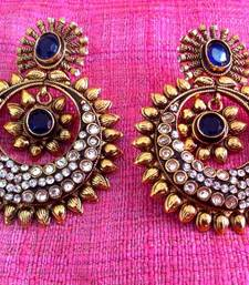 Buy Golden sunflower blue stone work polki earring v348 anniversary-gift online