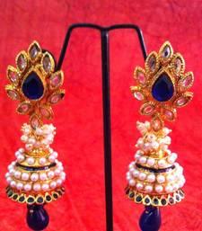 Buy Blue flower in uncut ad stone pearl jhumka earring v349b gifts-for-girlfriend online