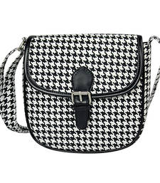 Buy Black and white canvas printed sling bags sling-bag online