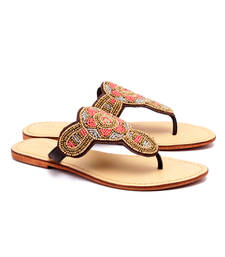 Buy Gold genuine leather footwear footwear online