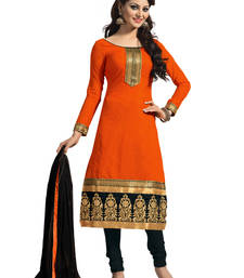 Buy Orange embroidered chanderi cotton unstitched salwar with dupatta dress-material online