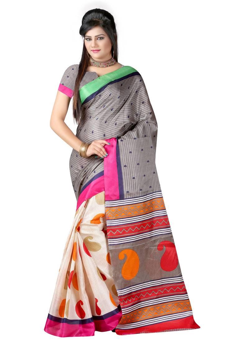 Buy Multicolor Printed Bhagalpuri Silk Saree With Blouse