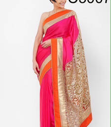 Buy multicolor printed Brasso and Georgette saree With Blouse wedding-saree online