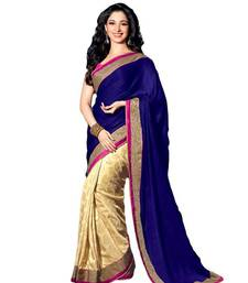 Buy blue and cream embroidered jacquard saree With Blouse jacquard-saree online