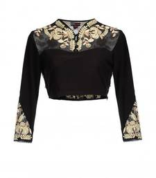 Buy Black silk unstitched blouse blouse-fabric online