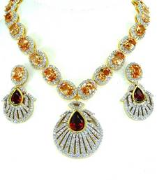 Buy Beautiful beige and maroon stone studded CZ necklace set. necklace-set online