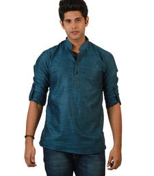 Buy Black plain linen men kurtas men-kurta online