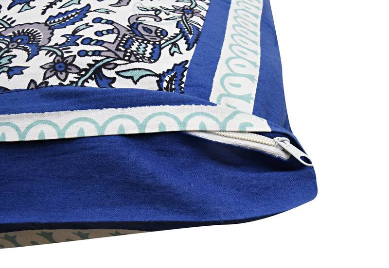 Buy Traditional Rajasthani Jaipuri Elephant Cotton Double Besheet With two Pillow Covers - Blue ...