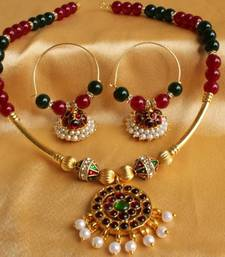 Buy BEAUTIFUL UNIQUE TEMPLE JEWEL NECKLACE SET necklace-set online