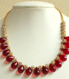 Buy BEAUTIFUL RED/MAROON BEADED DESIGNER NECKLACE Necklace online