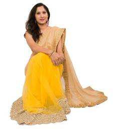 Buy Yellow & Gold net-saree online