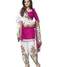 Buy Pink printed cotton semi stitched salwar with dupatta party-wear-salwar-kameez online