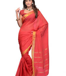 Buy CottonBazaar Peach Colored Cotton Saree  cotton-saree online