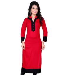 Buy Red cotton plain kurti cotton-kurti online