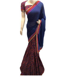 Buy Blue printed pure lycra saree With Blouse brasso-saree online