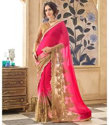 Buy Marvelous Magenta Colored Embroidered Georgette Net Saree chiffon-saree online