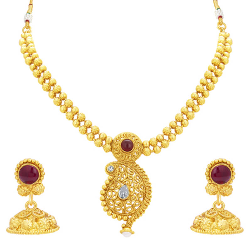 Buy Pleasing Kairi Design Gold Plated Necklace Set For