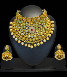Buy Real kundan choker necklace set bridal partywear handmade necklace-set online