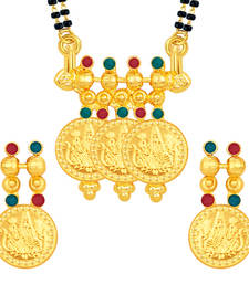 Buy Lavish Laxmi Temple Coin Gold Plated Mangalsutra Set For Women mangalsutra online